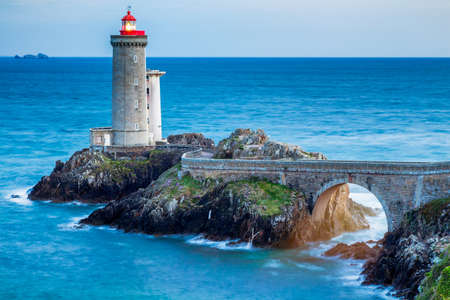 View of the lighthouse Phare du Petit Minou in Plouzane, Brittany (Bretagne), France.
