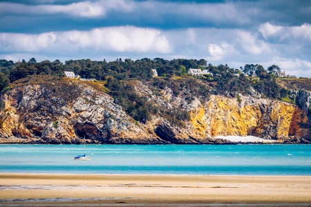 Beautiful area of Morgat with the sand beach and rocky coastline, Finistere, Brittany (Bretagne), France. Stock Photo