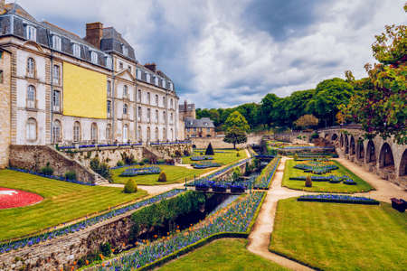 Walls of the ancient town and the gardens in Vannes. Brittany (Bretagne), Northern France.