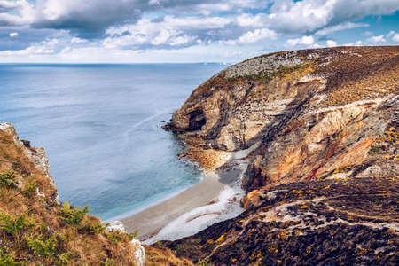 Rocky landscape at Cap de la Chevre, Finistere department, Parc naturel regional dArmorique. Brittany (Bretagne), France.