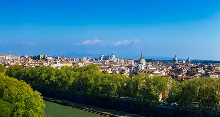 Panoramic view over the historic center of Rome, Italy from Castel Sant Angelo Stock Photo