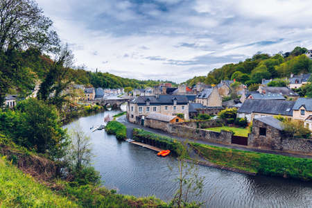french way: The picturesque medieval port of Dinan on the Rance Estuary, Brittany (Bretagne), France
