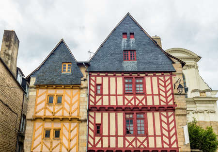Old half-timbered colorful houses in Vannes, Brittany (Bretagne), France.