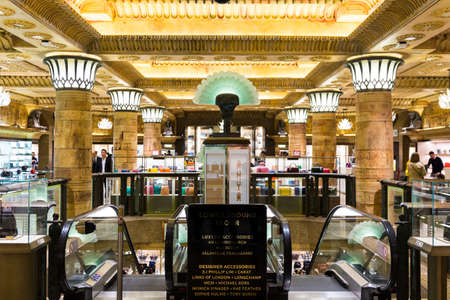 London, England - April 4, 2017: Interior of the famous Harrods department store on April 4, 2017 at Knightsbridge in London, UK. Harrods is the biggest department store in Europe.