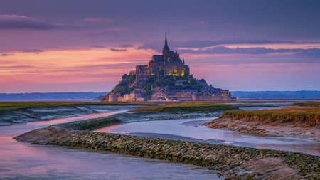 Beautiful Mont Saint Michel cathedral on the island, Normandy, Northern France, Europe Stock Photo