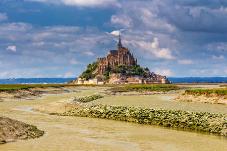 Magnificent Mont Saint Michel cathedral on the island, Normandy, Northern France, Europe Editorial