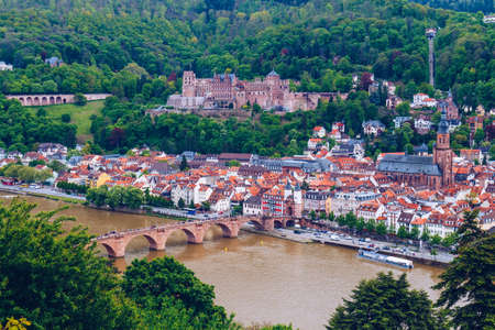 View of beautiful medieval town Heidelberg, Germany Stock Photo