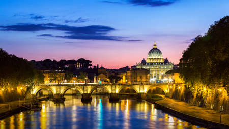 Vatican City, Rome, Italy, Beautiful Vibrant Night image Panorama of St. Peters Basilica, Ponte St. Angelo and Tiber River at Dusk in Summer. Reflection of The Papal Basilica of St. Peter Editorial