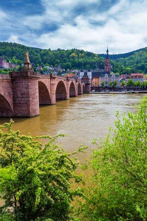Old Neckar bridge and Heidelberg city, Germany Stock Photo