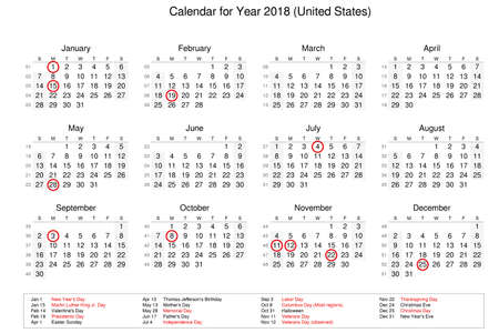 Calendar of year 2018 with public holidays and bank holidays for United States of America