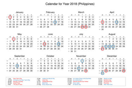 calendar of year 2018 with public holidays and bank holidays for philippines stock photo 91209076