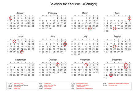 Calendar of year 2018 with public holidays and bank holidays for Portugal