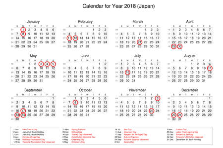Calendar of year 2018 with public holidays and bank holidays for Japan