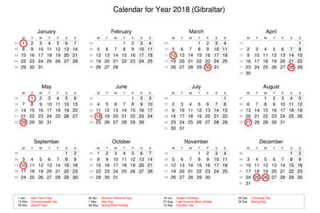 Calendar of year 2018 with public holidays and bank holidays for Gibraltar