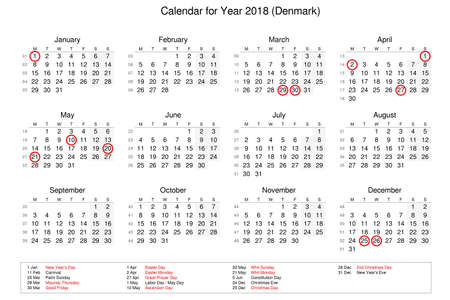 Calendar of year 2018 with public holidays and bank holidays for Denmark Stock Photo