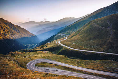 Transfagarasan pass in summer. Crossing Carpathian mountains in Romania, Transfagarasan is one of the most spectacular mountain roads in the world. Stok Fotoğraf