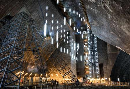 Turda, Romania - August 8, 2017: Inner view of Turda Salt Mine, wellknown landmark in Transylvania, Romania, Europe