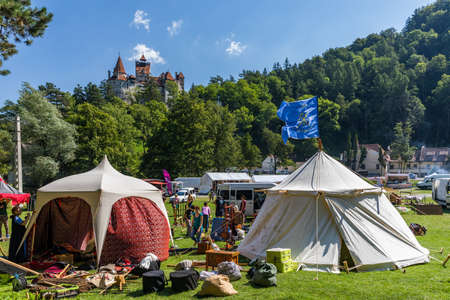 Bran Romania - 12 August 2017 Medieval festival tent and preparations close & Medieval Tent Stock Photos u0026 Pictures. Royalty Free Medieval Tent ...