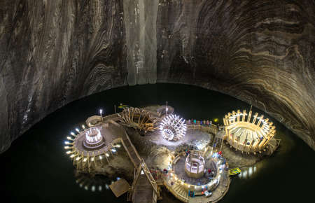 Turda, Romania - August 8, 2017: Inner view of Turda Salt Mine, wellknown landmark in Transylvania, Romania, Europe