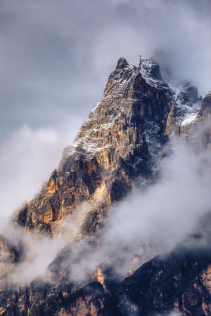 Monte Antelao (3263m) above San Vito di Cadore (close to Cortina dAmpezzo), is the second highest mountain in Dolomiti, also known as the King of the Mountains, South Tyrol, Italy.