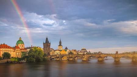 Rainbow over Charles Bridge after a storm in the summer, Prague, Czech Republic