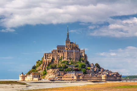Beautiful Mont Saint Michel cathedral on the island, Normandy, Northern France, Europe 報道画像