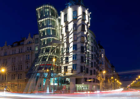 Dancing house in Prague at night, Czech republic Editorial