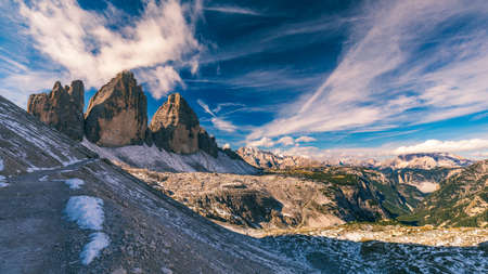 Tre Cime di Laveredo, three spectacular mountain peaks in Tre Cime di Lavaredo National Park, Sesto Dolomites, South Tyrol, Italy Banco de Imagens