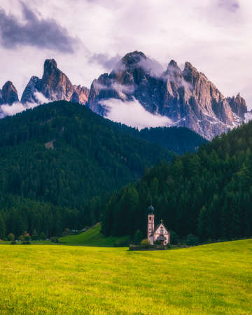 Famous best alpine place of the world, Santa Maddalena (St Magdalena) village with magical Dolomites mountains in background, Val di Funes valley, Trentino Alto Adige region, Italy, Europe