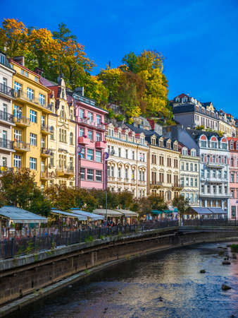 Karlovy Vary, Czech Republic - September 30, 2017: World-famous for its mineral springs, the town of Karlovy Vary (Karlsbad) was founded by Charles IV in the mid-14th century. 에디토리얼