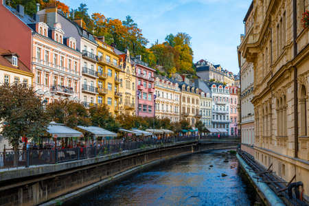 Architecture of Karlovy Vary (Karlsbad), Czech Republic. It is the most visited spa town in the Czech Republic Stock Photo
