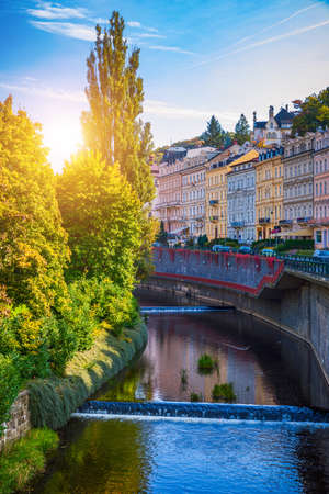 Architecture of Karlovy Vary (Karlsbad), Czech Republic. It is the most visited spa town in the Czech Republic Editorial