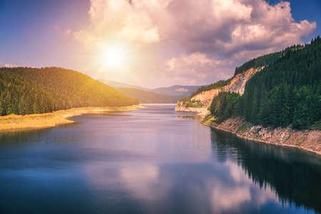 Oasa Lake from Sureanu mountains, Alba county, Transalpina, Transylvania, Romania Stock Photo