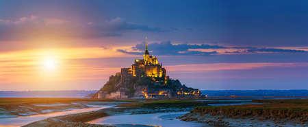 Mont Saint-Michel view in the sunset light. Normandy, northern France Reklamní fotografie