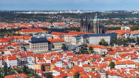 Prague Castle and Saint Vitus Cathedral, Czech Republic. Panoramic view Editorial