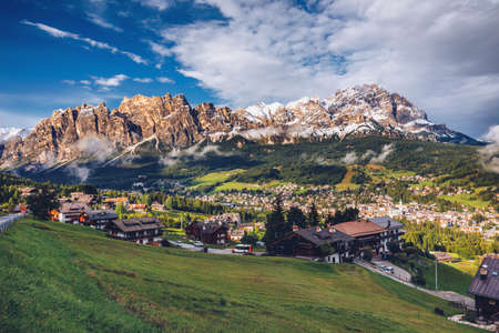 View of Cortina D'Ampezzo with Pomagagnon mount in the background, Dolomites, Italy, South Tyrol. Foto de archivo