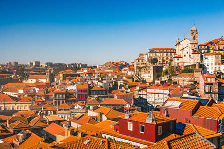 Panoramic view of Old city of Porto (Oporto) and Ribeira over Douro river, Portugal. Concept of world travel, sightseeing and tourism. Stock Photo