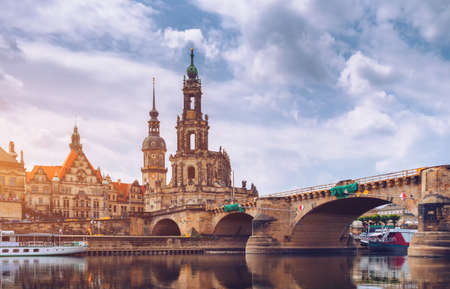 Dresden city skyline panorama at Elbe River and Augustus Bridge, Dresden, Saxony, Germany