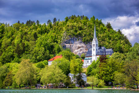 The Picturesque of St. Martin's Parish Church on the Hill by the Lake Bled of Slovenia. St Martin's Church on the shores of Lake Bled, Slovenia
