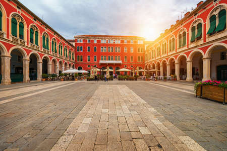 Republic Square (Trg Republike) in the City of Split in Croatia. View of Republic Square in Split, Croatia. Stockfoto