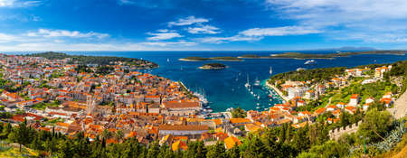 Panorama view at amazing archipelago in front of town Hvar, Croatia. Harbor of old Adriatic island town Hvar. Amazing Hvar city on Hvar island, Croatia. High resolution photo of Hvar town, Croatia.