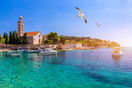 View at amazing archipelago with fishing boats in front of town Hvar, Croatia. Harbor of old Adriatic island town Hvar with seagulls flying over the city. Amazing Hvar city on Hvar island, Croatia. 版權商用圖片