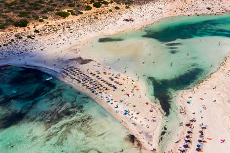 Aerial view of Balos beach near Gramvousa island in Crete. Magical turquoise waters, lagoons, Balos beach of pure white sand. Balos bay in Crete island, Greece. Zdjęcie Seryjne