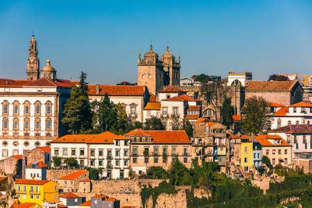 Scenic view of the Porto Old Town pier architecture over Duoro river in Porto, Portugal Stock Photo
