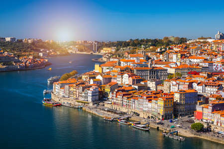 Porto, Portugal old town on the Douro River. Oporto panorama. Stock Photo