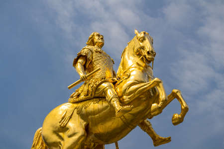 Golden horse Goldener Reiter, the statue of August the Strong in Dresden, Saxony, Germany 스톡 콘텐츠