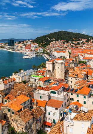 Split waterfront and Marjan hill aerial view, Dalmatia, Croatia.  Split panoramic view of town, Dalmatia, Croatia. Stock Photo