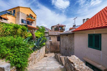 Street in Split historical center, Croatia. Beautiful square of the old town of Split in Croatia. Old stone street of Split historic city, Dalmatia, Croatia
