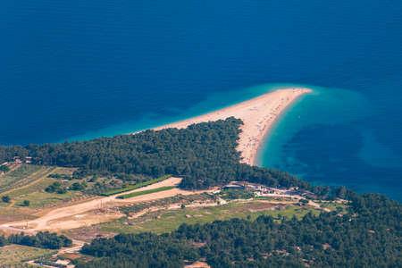 Beautiful panorama of famous Adriatic beach Zlatni Rat (Golden Cape or Golden Horn) with turquoise water , Island of Brac Croatia summertime. Famous Adriatic beach Zlatni Rat in Bol, Brac, Croatia.