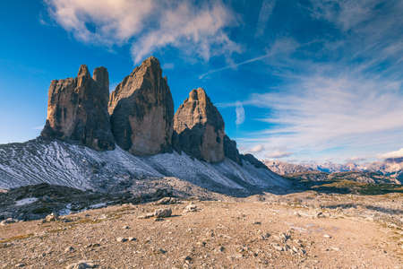 View of the National Park Tre Cime di Lavaredo, Dolomites, South Tyrol. Location Auronzo, Italy, Europe. Dramatic cloudy sky. Beauty world.